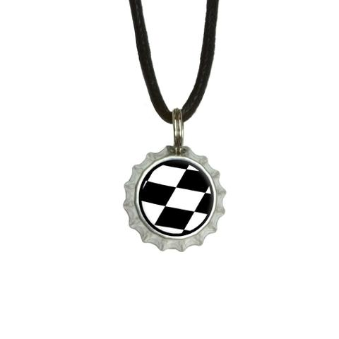 Checkered Flag - Racing Bottlecap Small Pendant