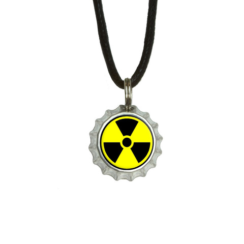 Radioactive Nuclear Warning Symbol Bottlecap Small Pendant