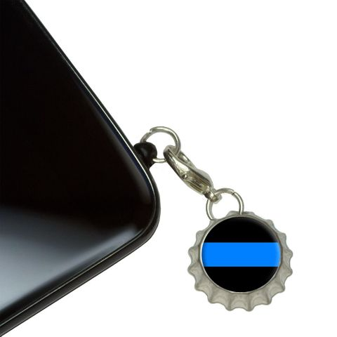 Thin Blue Line Mobile Bottlecap Phone Charm