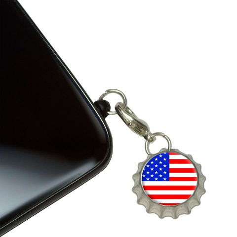 American USA Flag - Patriotic Mobile Bottlecap Phone Charm