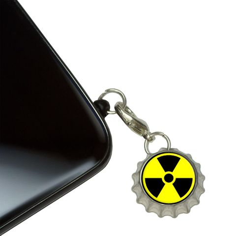 Radioactive Nuclear Warning Symbol Mobile Bottlecap Phone Charm