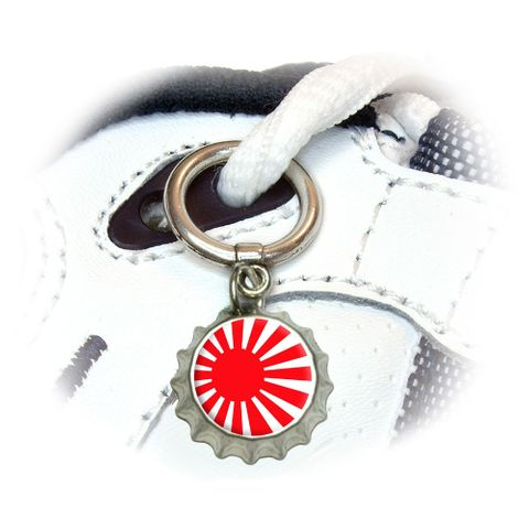Japan Japanese Flag Rising Sun Shoe Bottlecap Charm