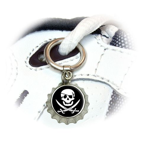 Pirate Skull Crossed Swords - Jolly Roger Shoe Bottlecap Charm