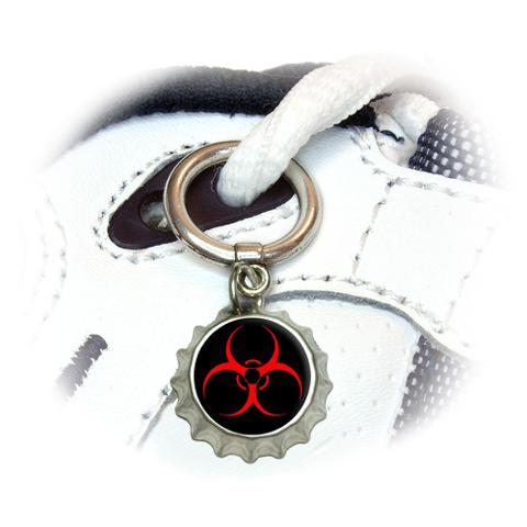 Biohazard Warning Symbol - Zombie Radioactive Shoe Bottlecap Charm