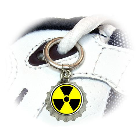Radioactive Nuclear Warning Symbol Shoe Bottlecap Charm
