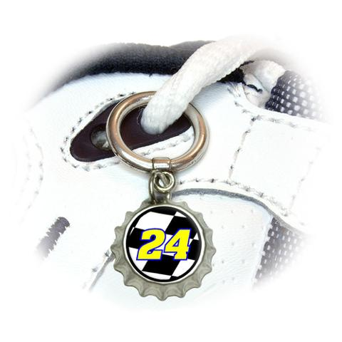 Number 24 Checkered Flag - Racing Shoe Bottlecap Charm