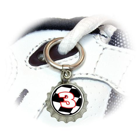 Number 3 Checkered Flag - Racing Shoe Bottlecap Charm