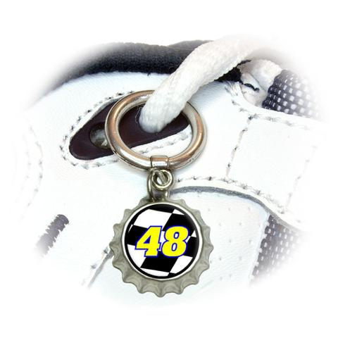 Number 48 Checkered Flag - Racing Shoe Bottlecap Charm