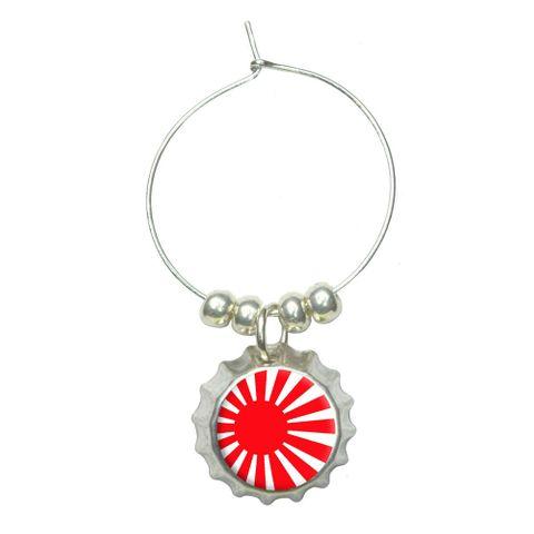 Japan Japanese Flag Rising Sun Wine Glass Bottlecap Charm