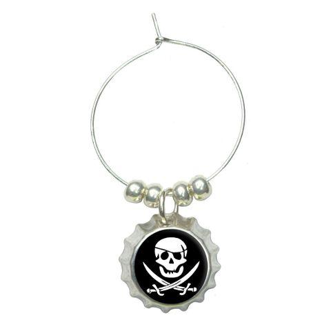 Pirate Skull Crossed Swords - Jolly Roger Wine Glass Bottlecap Charm