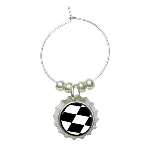 Checkered Flag - Racing Wine Glass Bottlecap Charm