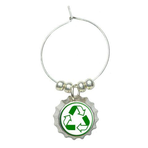 Recycle Reuse Conservation - Hybrid Wine Glass Bottlecap Charm