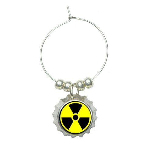 Radioactive Nuclear Warning Symbol Wine Glass Bottlecap Charm