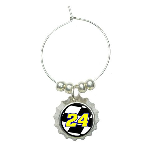 Number 24 Checkered Flag - Racing Wine Glass Bottlecap Charm