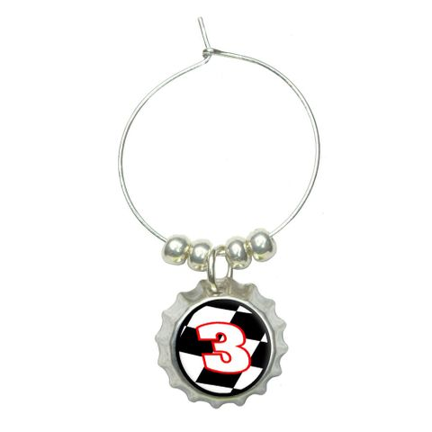 Number 3 Checkered Flag - Racing Wine Glass Bottlecap Charm