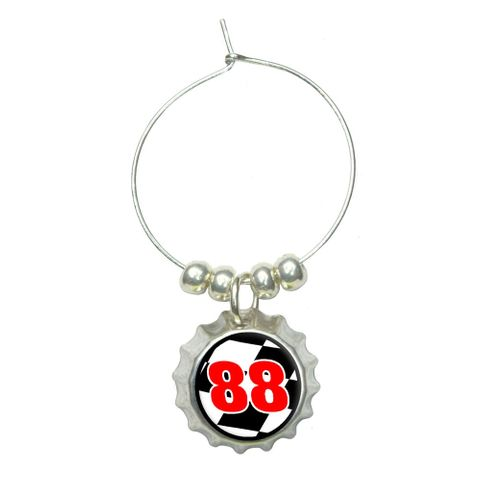 Number 88 Checkered Flag - Racing Wine Glass Bottlecap Charm