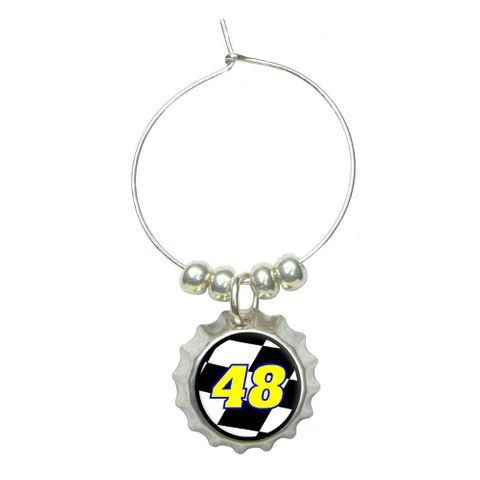 Number 48 Checkered Flag - Racing Wine Glass Bottlecap Charm