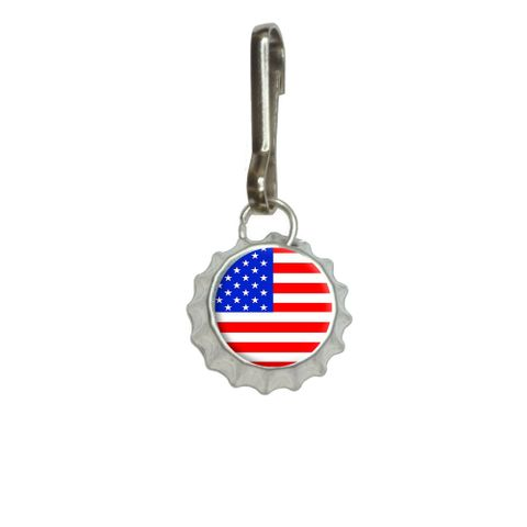 American USA Flag - Patriotic Bottlecap Charm Zipper Pull