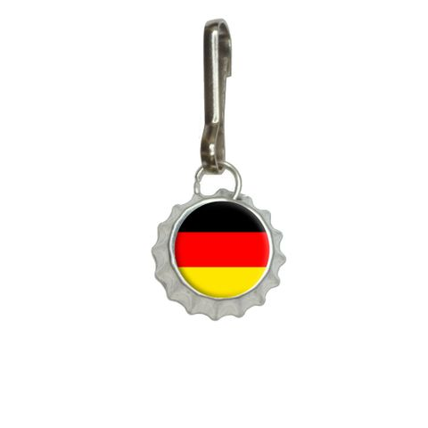 German Germany Flag Bottlecap Charm Zipper Pull