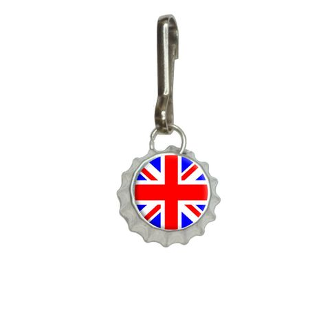 Britain British Flag - Union Jack Bottlecap Charm Zipper Pull