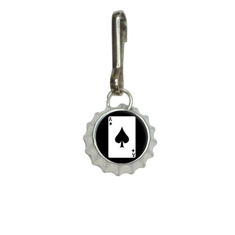 Playing Cards Ace of Spades Bottlecap Charm Zipper Pull