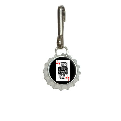 Playing Cards Jack of Hearts Bottlecap Charm Zipper Pull