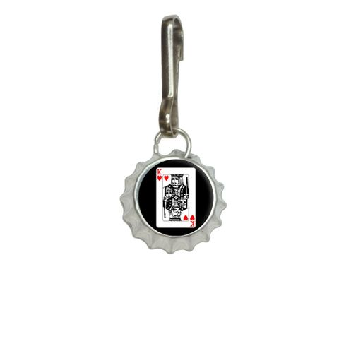 Playing Cards King of Hearts Bottlecap Charm Zipper Pull