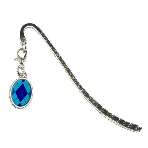 Argyle Hipster Blue - Preppy Oval Charm Metal Bookmark