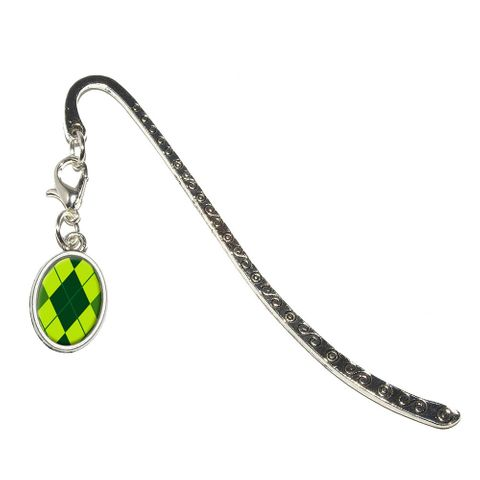 Argyle Hipster Green - Preppy Oval Charm Metal Bookmark