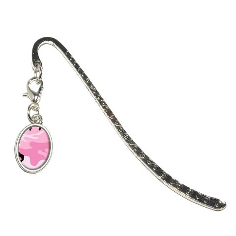 Pink Camouflage Army Soldier Oval Charm Metal Bookmark