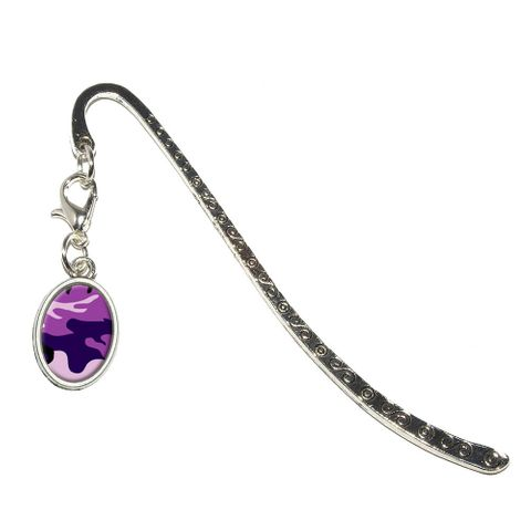 Purple Camouflage Army Soldier Oval Charm Metal Bookmark