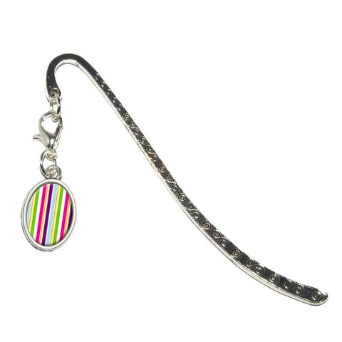 Yuppy Colorful Stripes Oval Charm Metal Bookmark