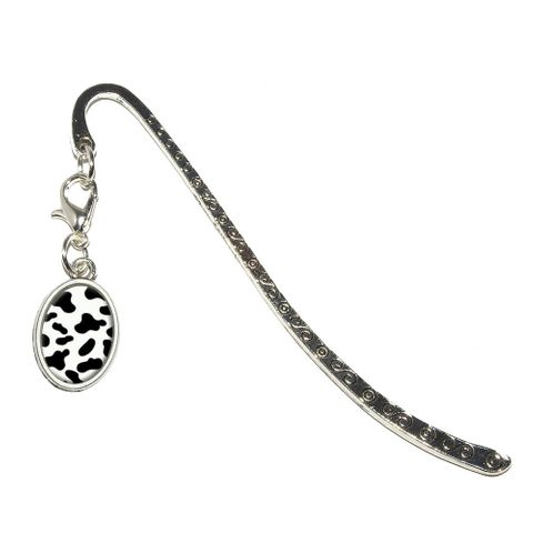 Cow Print Black White Oval Charm Metal Bookmark