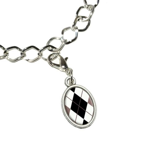 Argyle Hipster Black White - Preppy Oval Charm