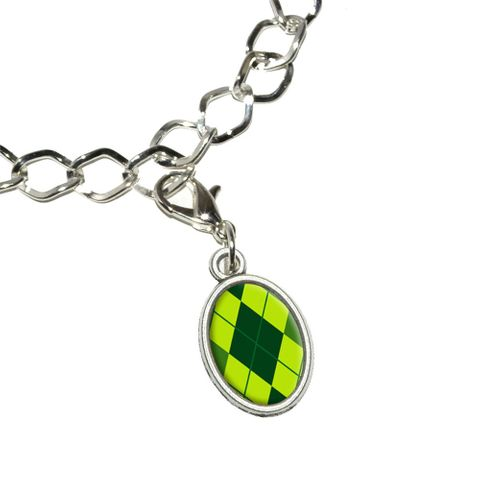 Argyle Hipster Green - Preppy Oval Charm