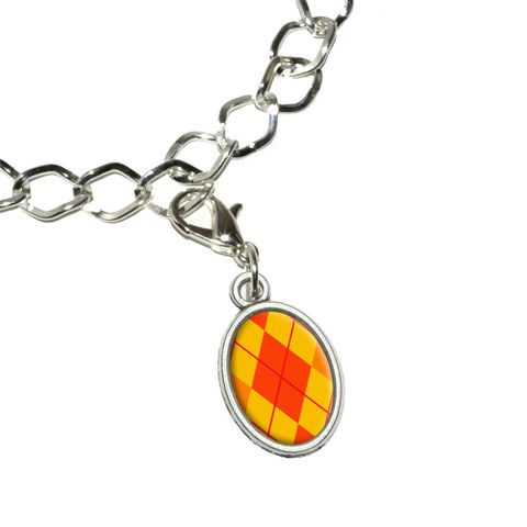 Argyle Hipster Orange - Preppy Oval Charm