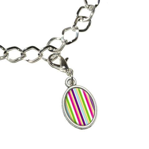 Yuppy Colorful Stripes Oval Charm