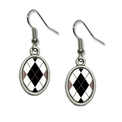 Argyle Hipster Black White - Preppy Dangling Drop Oval Earrings