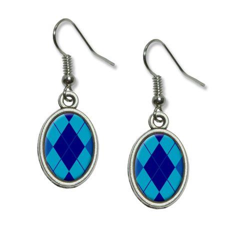 Argyle Hipster Blue - Preppy Dangling Drop Oval Earrings
