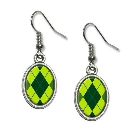 Argyle Hipster Green - Preppy Dangling Drop Oval Earrings