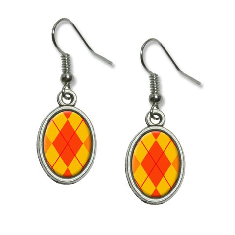 Argyle Hipster Orange - Preppy Dangling Drop Oval Earrings