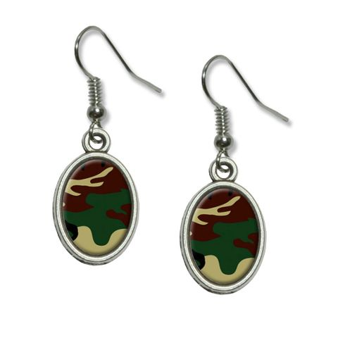 Camouflage Army Soldier Dangling Drop Oval Earrings