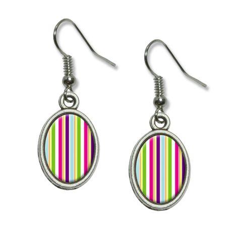Yuppy Colorful Stripes Dangling Drop Oval Earrings