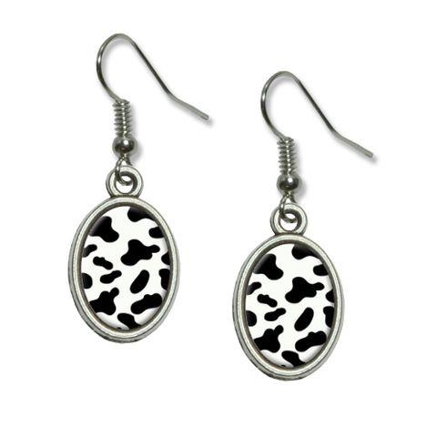 Cow Print Black White Dangling Drop Oval Earrings