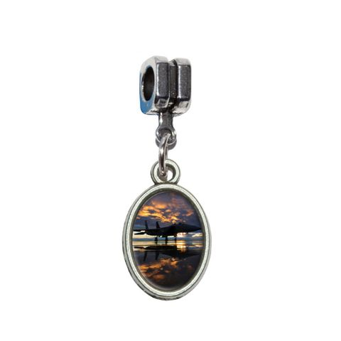 Aircraft Jet Fighter at Sunset - Air Force European Style Bracelet Oval Charm