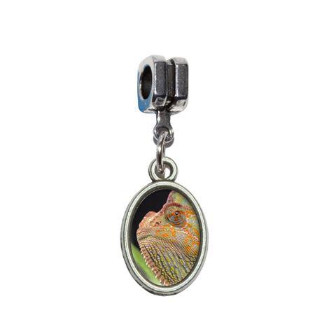 Veiled Chameleon - Lizard Reptile European Style Bracelet Oval Charm