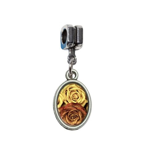Vintage Red Yellow Roses European Style Bracelet Oval Charm