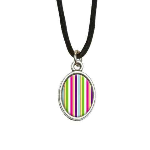 Yuppy Colorful Stripes Oval Charm Pendant