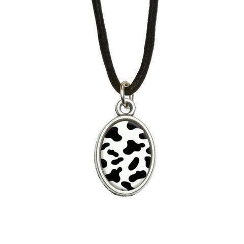 Cow Print Black White Oval Charm Pendant