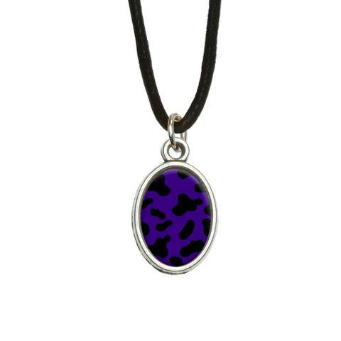 Cow Print Purple Oval Charm Pendant